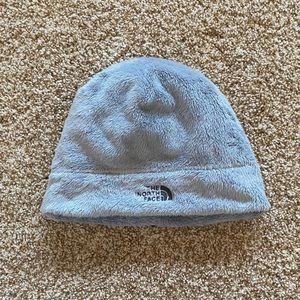 The North Face Light Gray Fuzzy Beanie